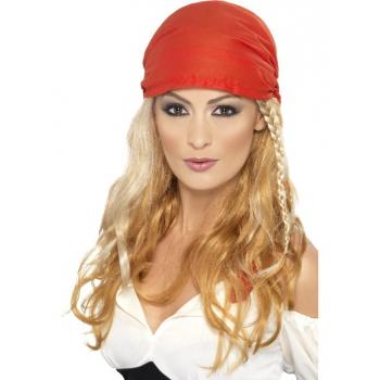 Blonde piraten pruik voor dames (bron: Hawaii-feestwinkel)