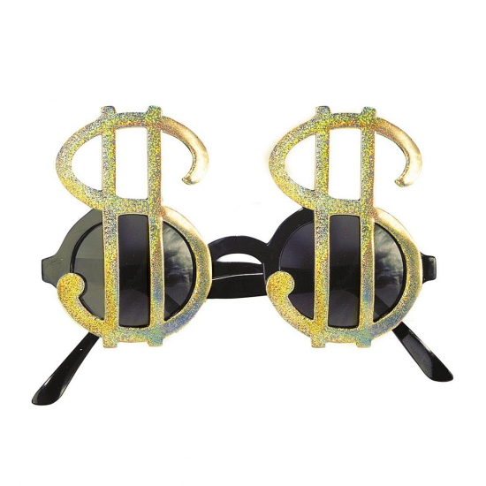 Dollar brillen goud (bron: Hawaii-feestwinkel)