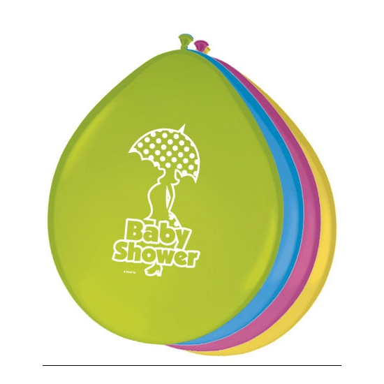 Gekleurde babyshower ballonnen (bron: Hawaii-feestwinkel)