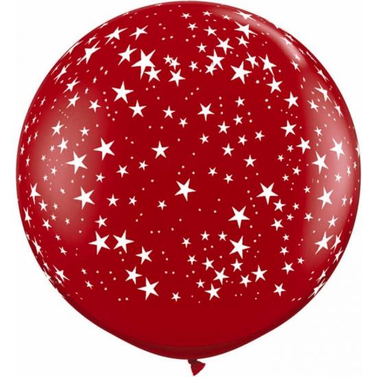 Grote rode ballon met sterren 90 cm (bron: Hawaii-feestwinkel)
