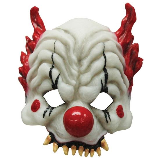 Half gezichtsmasker horror clown (bron: Hawaii-feestwinkel)
