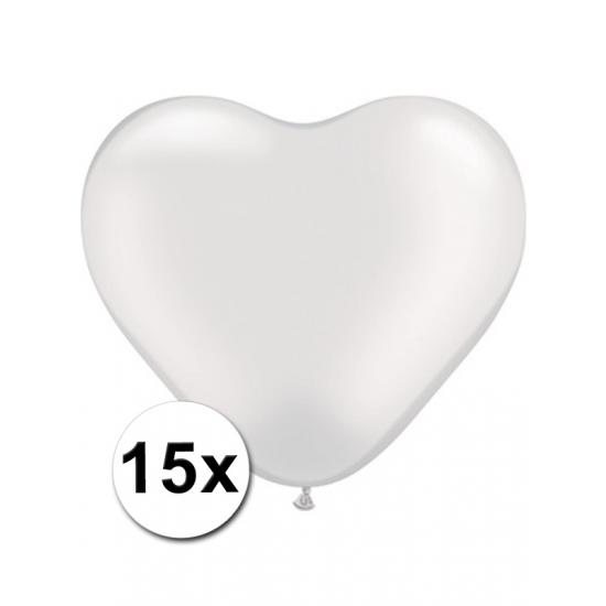 Hart ballonnen wit 15 stuks (bron: Hawaii-feestwinkel)