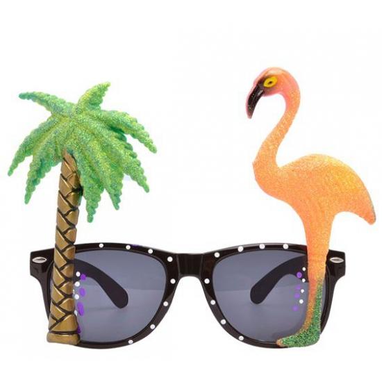 Hawaii thema bril met flamingo glazen (bron: Hawaii-feestwinkel)