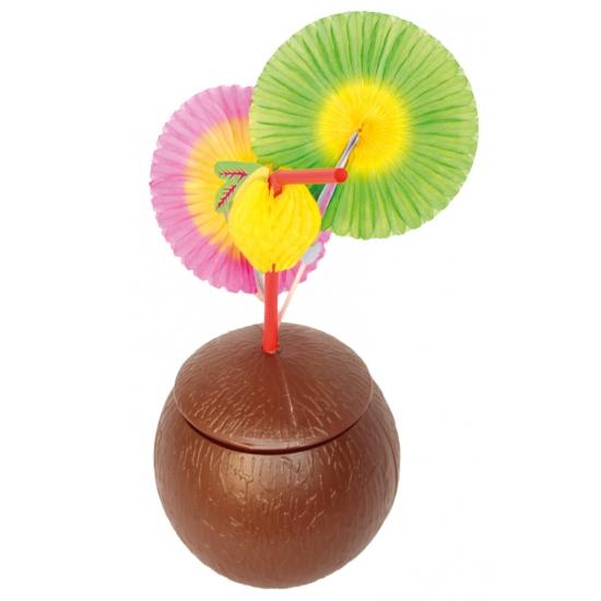 Kokosnoot beker met deksel (bron: Hawaii-feestwinkel)