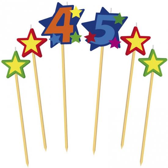 Prikker kaarsjes cijfer 45 (bron: Hawaii-feestwinkel)