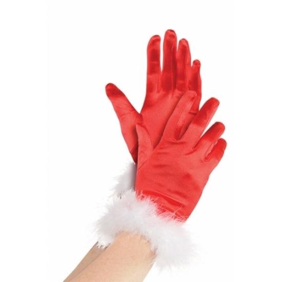 Rode kerst handschoenen voor vrouwen (bron: Hawaii-feestwinkel)