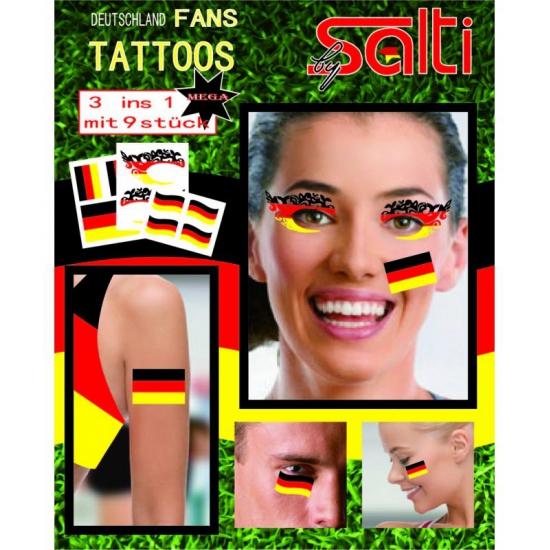 Tatoeages Duitsland 9 stuks (bron: Hawaii-feestwinkel)