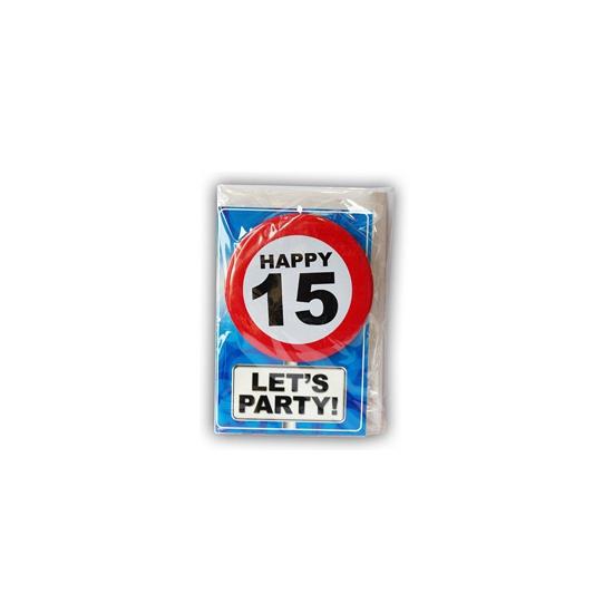 Verjaardagskaart 15 jaar (bron: Hawaii-feestwinkel)