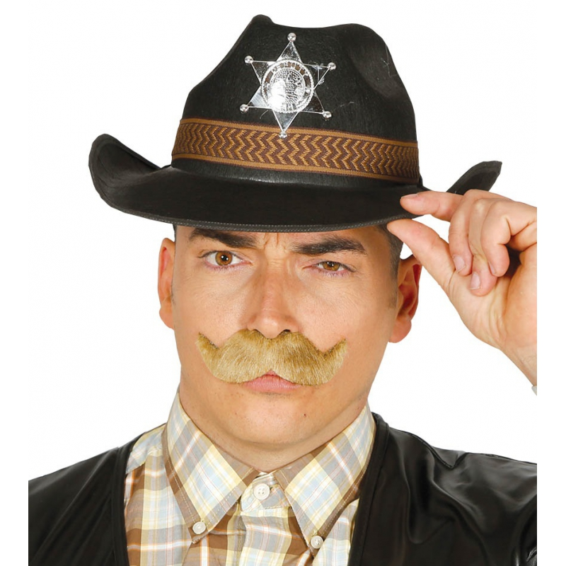 Western Sheriff hoed zwart voor mannen (bron: Hawaii-feestwinkel)