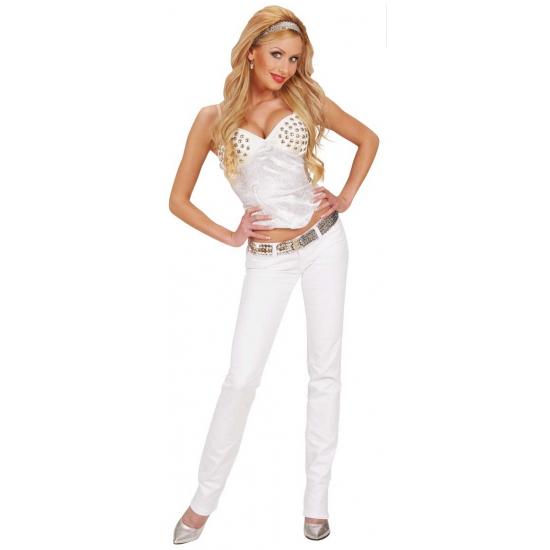 Witte dames corset met studs
