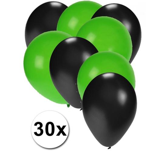 Zwarte en groene ballonnen 30 stuks (bron: Hawaii-feestwinkel)