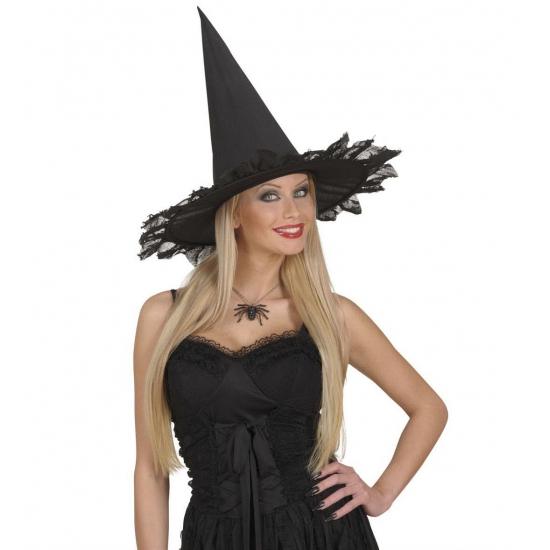 Zwarte heksen ketting met spin (bron: Hawaii-feestwinkel)