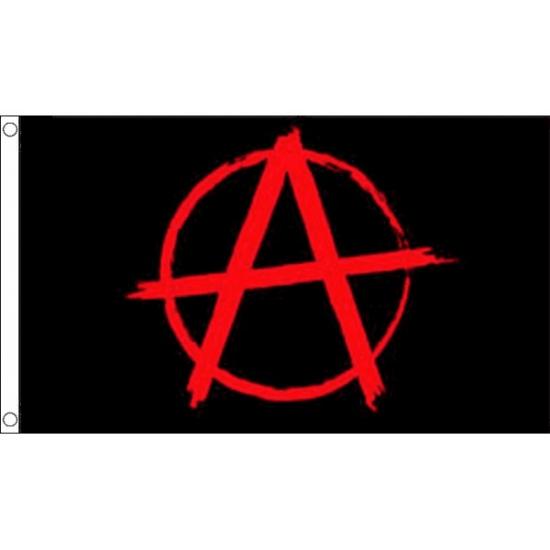 Zwarte met rode Anarchie vlag (bron: Hawaii-feestwinkel)