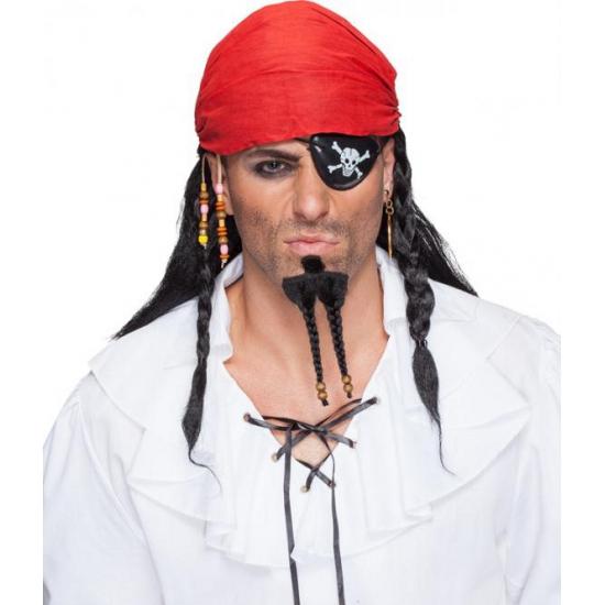 Zwarte piraten pruik met bandana (bron: Hawaii-feestwinkel)