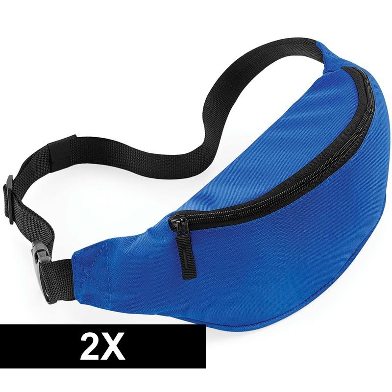 2x Heuptassen blauw met verstelbare band