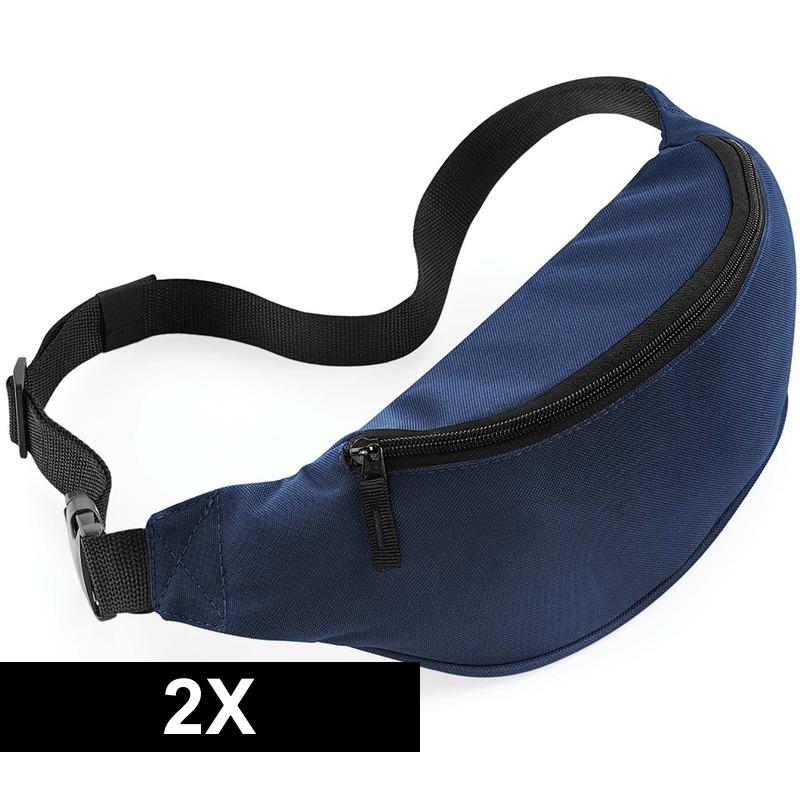 2x Heuptassen donkerblauw met verstelbare band
