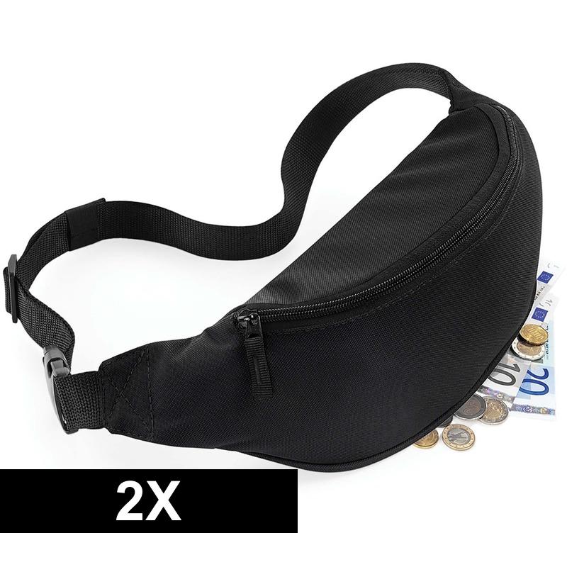 2x Heuptassen zwart met verstelbare band