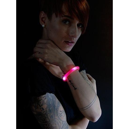 2x Lichtgevende armband rood met LED lampjes voor volwassenen