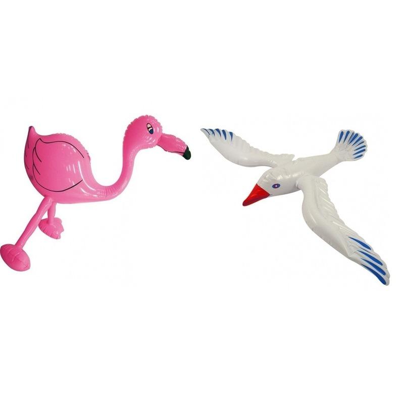 2x Opblaasbare decoratie flamingoje en meeuw