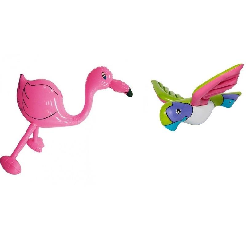 2x Opblaasbare decoratie flamingoje en papegaai