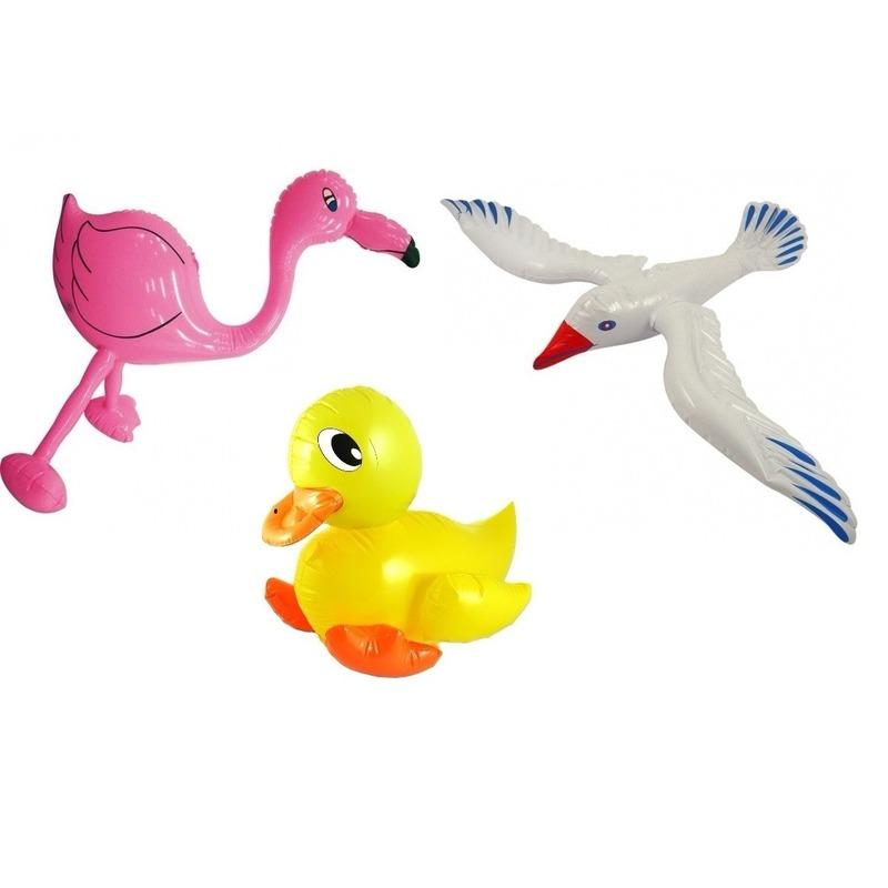3x Opblaasbare decoratie meeuw eendje en flamingo