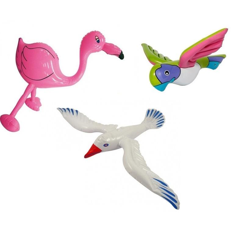 3x Opblaasbare decoratie meeuw flamingo en papegaai