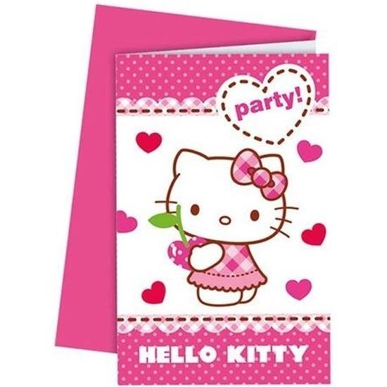 6x Hello Kitty feest uitnodigingen 6 cm