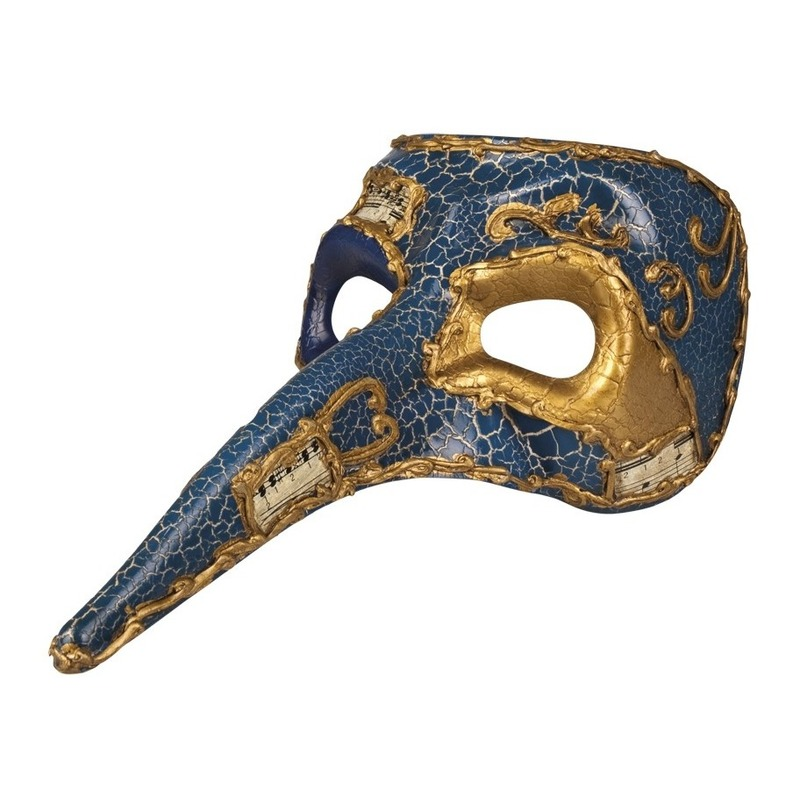 Blauw mysterieus snavelmasker glimmend voor heren