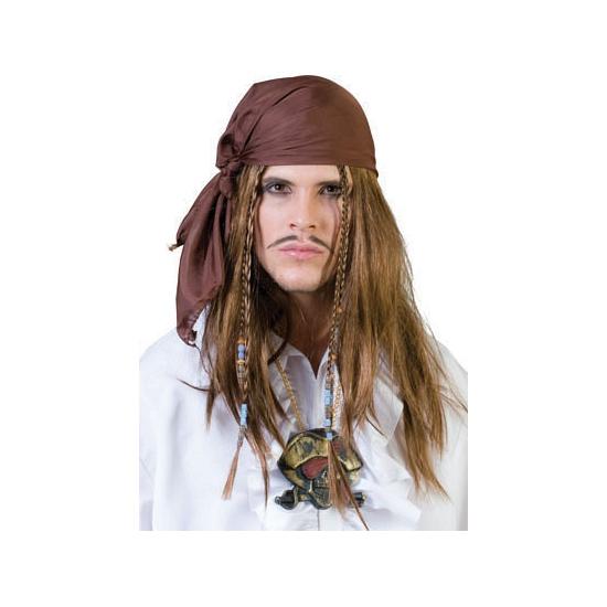 Bruine piraten bandana met pruik