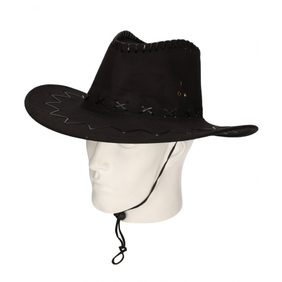 Cowboyhoed zwart suede look