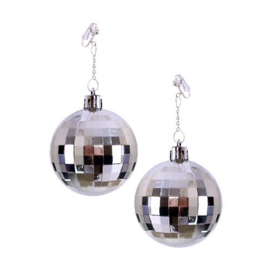 Discobal oorbellen zilver