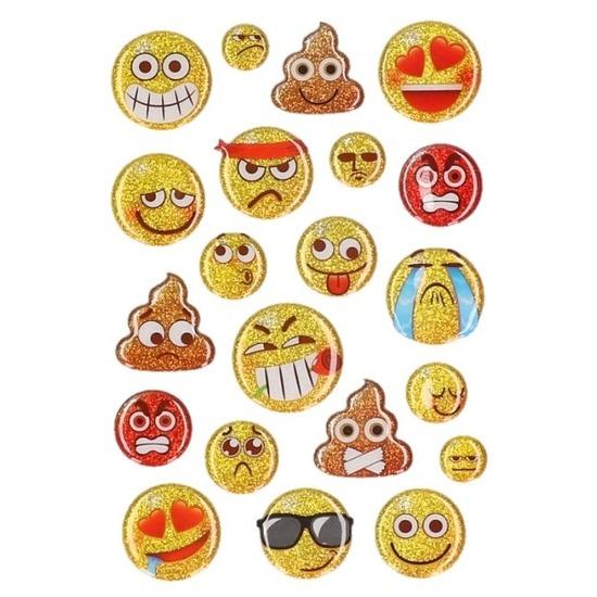 Glitter smileys stickervel 15 stuks