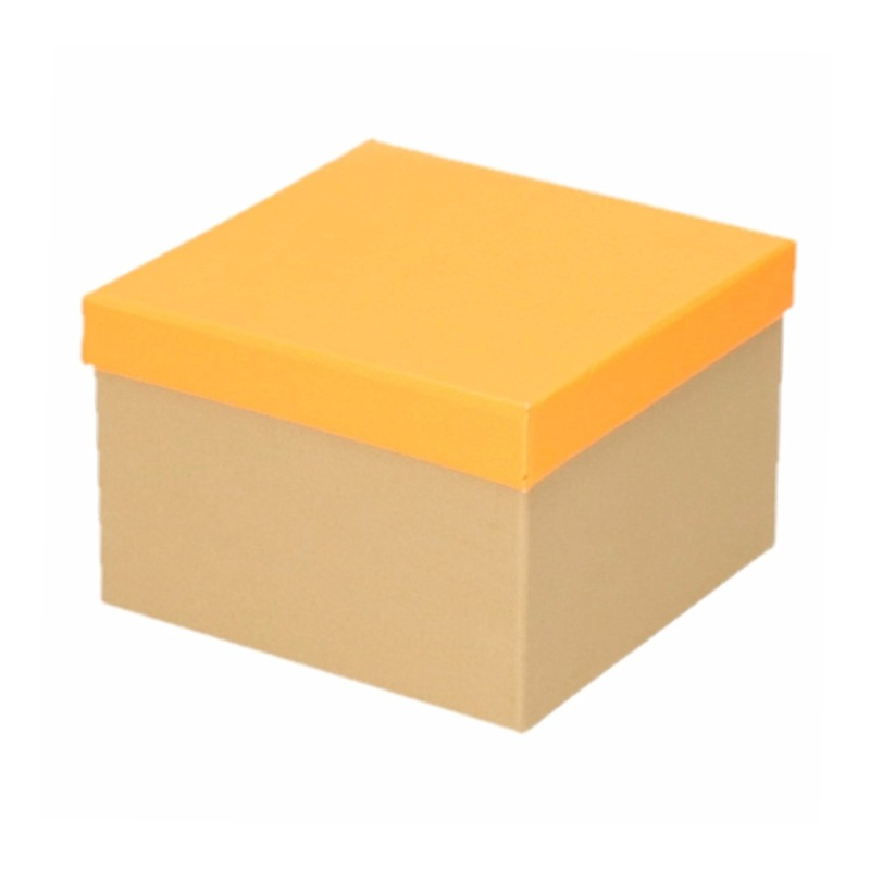 Kado doosjes naturel/neon oranje 15 cm rechthoek