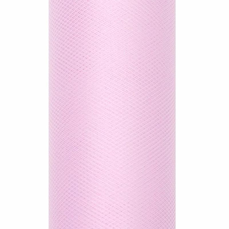 Lichtroze tule stoffen 15 cm breed