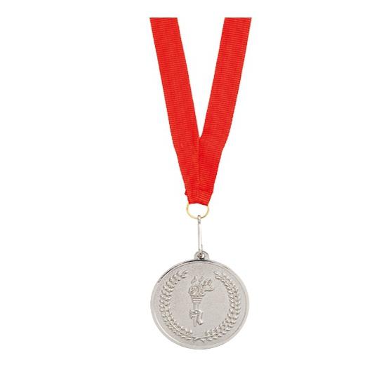Medaille zilver aan rood lint