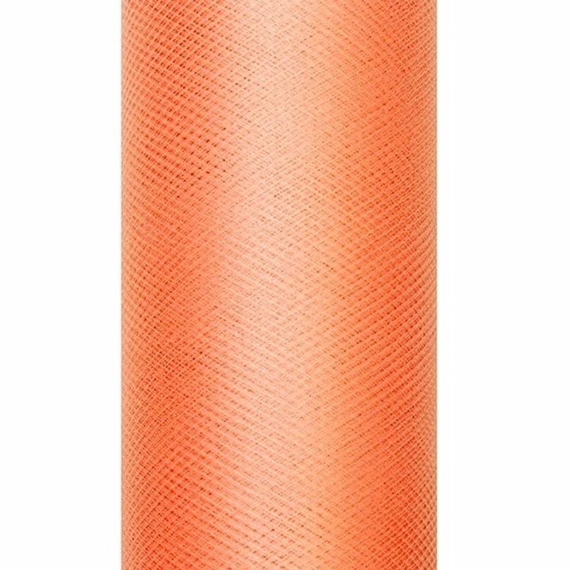 Oranje tule stoffen 15 cm breed
