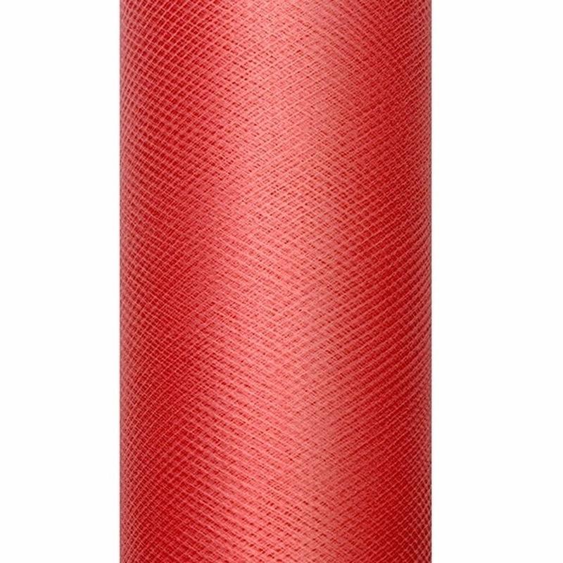 Rode tule stoffen 15 cm breed