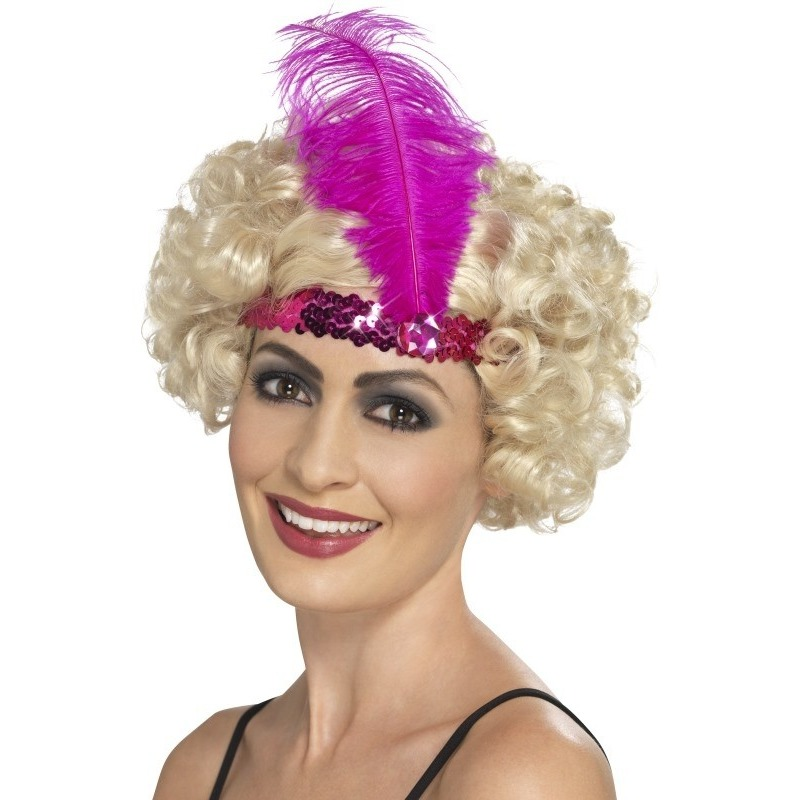 Roze jaren 20 hoofdband met veer