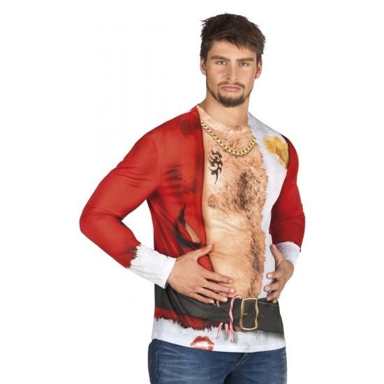 Kersttrui Man.Hawaii Feest Verkleed T Shirt Aso Kerstman Heren