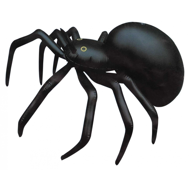 Zwarte opblaas spin 91 cm